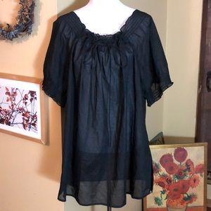 RALPH LAUREN size 3x Cotton Gathered Tie Neck $129
